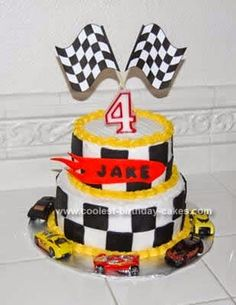 Hot Wheels Racing League: Hot Wheels Birthday Party Cakes - Checkered Flags #hotwheels #cakes