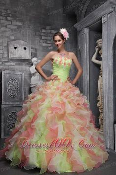 1af24a47d5 Best Quinceanera Dresses Shop offers Strapless Cascading Ruffles Hand  Flowers Multi color Quinces Dress price under ball gowns multi color  color