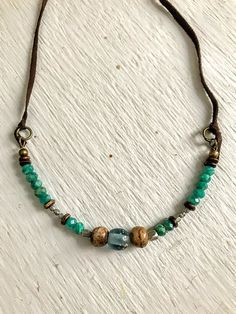 Boho Necklace, Gypsy Necklace, Gemstone Necklace, Beaded Necklace, Earthy Necklace, Rustic Jewelry, Green Amazonite Gemstone Necklace  This necklace contains a beautiful mix of shiny green Russian amazonite and silver beads, and rustic bone and recycled glass beads. We will finish the