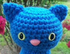 Sitting Pretty Kitty  Delft Blue Cat with Safety by BeyondCrochet, $15.00