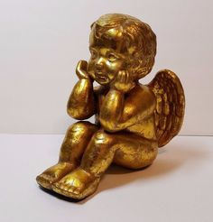 Porcelain Ceramic Cherub Cupid Putti Figurine Statue Gold Baby Angel Wings 9""