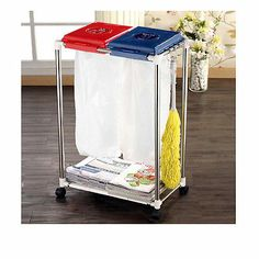 Separate Recycling Bins Cleaning Cart Two Dumping Storage and Storage Shelf | eBay
