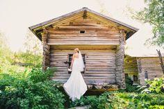 Real wedding in Finland. Dress made by Pukuni (www.pukuni.fi). Lace wedding dress, sweetheart, veil, train.