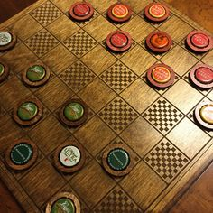Checkers - a classic game updated! This laser engraved wooden checkerboard can also double as a chess board. But the checkers pieces are waiting for