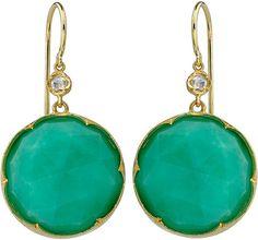Irene Neuwirth Chrysoprase Diamond Earrings in Green (yellow)