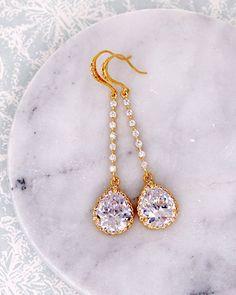 Gold Teardrop Long Earrings, cubic zirconia, silver rose gold, bridal brides jewelry, wedding jewelry, bridesmaid bridal shower gifts, www.glitzandlove.com