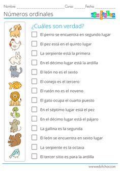 🥇 Números Ordinales para Niños | Fichas de Ejercicios【2019】 Spanish Lessons For Kids, Spanish Basics, Spanish Worksheets, Spanish Teaching Resources, Spanish Grammar, Spanish Language Learning, Classroom Humor, Elementary Spanish, Math For Kids