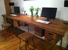 2 x 5 ft Industrial reclaimed wood work table connected (free shipping), pipe legs and crates placed underneath....LOVE!!!!!