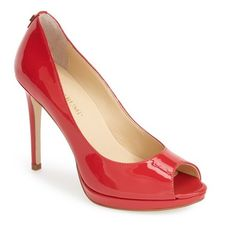 "Ivanka Trump 'Maggie' Pump, 4 1/4"" heel ($80) ❤ liked on Polyvore featuring shoes, pumps, sapatos, heels, candy apple red, high heel pumps, red pumps, platform shoes, red platform pumps and red shoes"