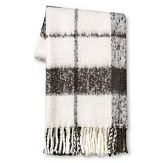 "Gray Faux Mohair Plaid Throw Blanket (50"" x 60"") - Threshold : Target"