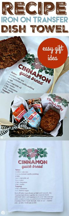 Recipe Iron On Transfer Dishtowel | Best gift idea ever! This easy gift is great for neighbor gifts, hostess gifts or anyone really! Who wouldn't love your favorite recipe printed on a dishtowel? Iron On Transfers for the win! Create a gift basket with Dunkin' Donuts® to make it more special. See more on TodaysCreativeLife.com