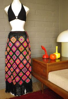 Vintage 70s Psychedelic Granny Square Crochet Maxi by elliemayhems