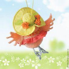 """Купить Совушка """"Спешу-спешу!"""" - оранжевый, сова, игрушка, птица, шляпа с полями, розочки, вязаная Christmas Ornaments, Toys, Holiday Decor, Handmade, Home Decor, Dishcloth, Antique Dolls, Sombreros, Appliques"""
