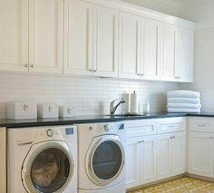 Another laundry of my dreams. The shaker style cabinetry, the storage and the front loading appliances