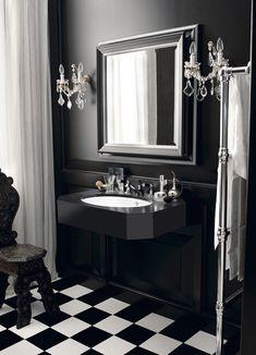 Design Handwaschbecken Badezimmer Barock Stil Schwarz Weiss Edel #badezimmer  #bathroom #ideas