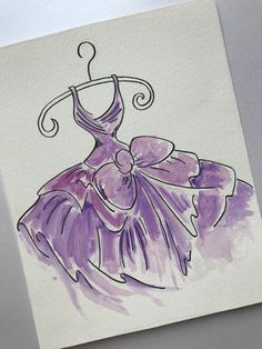 Pen and watercolour dress design to be made into appliqué card