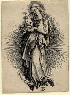 Albrecht Dürer, Virgin and Child Standing on a Crescent Moon - 1499. on ArtStack #albrecht-durer #art
