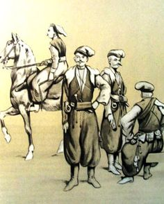 Epoka stanisławowska: Wierni kozacy. Od lewej: płk. Józef Poniatowski - dowódca 2 pułku, kozacy nadworni Adama Czartoryskiego. Rys. B. Gembarzewski.