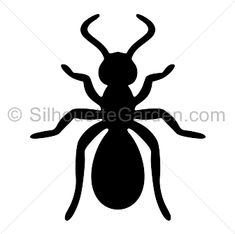 Ant silhouette clip art. Download free versions of the image in EPS, JPG, PDF, PNG, and SVG formats at http://silhouettegarden.com/download/ant-silhouette/