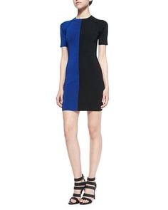 Two-Tone Short-Sleeve Dress by T by Alexander Wang at Bergdorf Goodman.