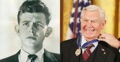 A very young Andy Griffith, and a picture of him receiving the 2005 Presidential Medal of Freedom (from George W. Bush).