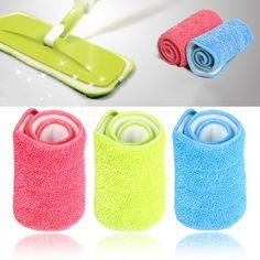 3色交換マイクロファイバー洗えるモップヘッドウェットとドライ掃除モップパッドフィットフラットスプレーモップ家庭用クリーニングツール