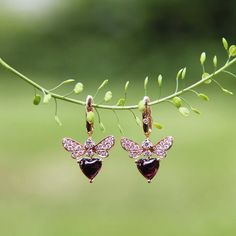 Bee Mine rhodolite and diamond earrings