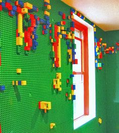 The ULTIMATE CHILDREN'S DREAM ~ A Lego Wall, promoting creativity [ BedsideHealers.com ] #home #comfort #healer