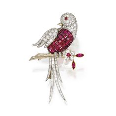 A Platinum, 18 Karat Gold, Diamond and Mystery-Set Ruby Bird Brooch, Van Cleef & Arpels,  France, 1948  the bird perched on a gold branch, set with round and baguette diamonds weighing approximately 7.80 carats, the body mystery-set with calibré-cut rubies weighing approximately 10.50 carats, further accented with round and marquise-shaped rubies, signed Van Cleef & Arpels, numbered 59500, French assay marks.