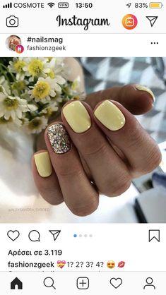 23 Great Yellow Nail Art Designs 2019 - Yellow Nails Design - Best Nail World Colorful Nail Designs, Nail Art Designs, Nails Design, Nail Designs For Summer, Nail Art Ideas For Summer, Simple Nail Design, Pretty Nail Designs, Awesome Designs, Nail Polish Designs