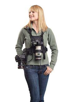 Cotton Carrier Camera Vest System for 2 Cameras    $189    http://www.cottoncarrier.com/black-camera-system-all-camera-types-plus-hand-strap-universal-adapter-plate/    #cameravest #camerastrap #cameraholster