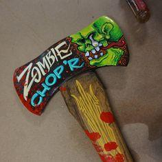 "Hand painted Garage Art ""Zombie Chop'r axe"""