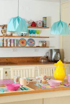 Origami Lamp Turquoise hanging lampshade by TweelingenHomeDecor