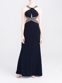 Laura. Embellished cleo neck with twist detail. Pleated lightly padded bust. Embellished X-waist. Open back. Back zip with hook