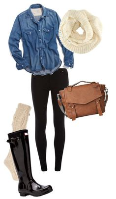 #fall #outfits / Denim + Knit Scarf