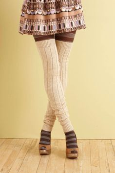 Ribbed Thigh Highs--I believe some Lorna's Laces from my stash will work with for these leg warmers.