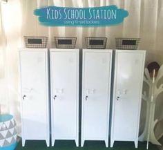 Kmart Top Homewares lockers for school organisation station or school drop zone using the Kmart metal white lockers. Best Kmart hack for kids! & School bag school u0026 sport shoes clean laundry sports equipment ...