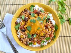 Slow cooker Taco Chicken Bowls- leave out the cheese and swap the rice for cauli-rice for grain/dairy free