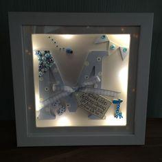 PERSONALISED LED LIGHT BOX FRAME INITIAL LETTER CHRISTENING/BOY/GIRL/ BABY