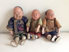 Unusual Set of 3x Antique Chinese Shanghai Papier-mâché Dolls in Embroidered Silk Clothes by LuxfordVintage on Etsy