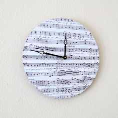 Modern Wall Clock, Home and Living, Record Clock, Music Clock, Home Decor, Decor and Housewares, Unique Wall Clock. $43.00, via Etsy. Best Wall Clocks, Cool Clocks, Unique Wall Clocks, Clock Wall, Music Clock, Record Clock, Music Wall, Sheet Music Decor, Modern Sheets