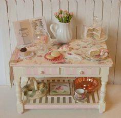 Miniature Bakery table by CynthiasCottageShop on Etsy