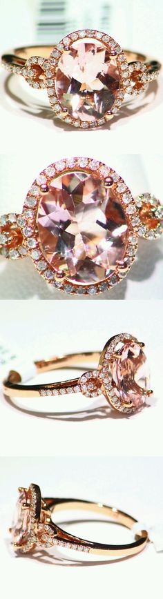 Rings 165044: 3.12Ct 14K Rose Gold Natural Morganite Cut White Diamond Vintage Engagement Ring -> BUY IT NOW ONLY: $881.0 on eBay!