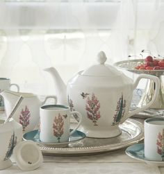 """ZABARWAN TEA SERVICE Our favourite moto is """"More tea, more stories..."""". Our 'Zabarwan' tea service is inspired by the flora and fauna of the mountains that surround Srinagar in #Kashmir. #TeaTime #ChaiTime"""