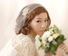 Bridal Cap Veil, Wedding Veil with Rhinestone and  Crystals, Bridal Illusion Tulle veil. 100.00, via Etsy.