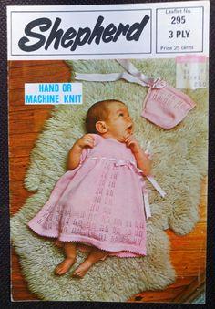Baby Dress & Bonnet Hand or Machine Knit Shepherd 295 vintage knitting pattern #Shepherd