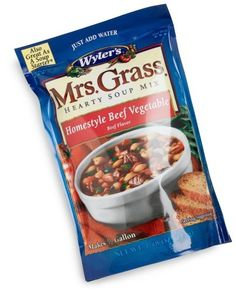 Mrs. Grass Hearty Soup Mix, Homestyle Beef Vegetable Soup Mix, 7.48-Ounce Units (Pack of 8) by Mrs. Grass, http://www.amazon.com/dp/B00122CM60/ref=cm_sw_r_pi_dp_j4Oarb0XRD0PR