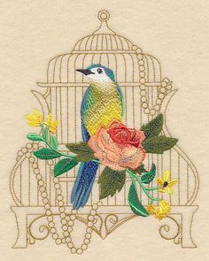 Shabby Chic Birdcage 6x8 	Machine Embroidery Designs at Embroidery Library! -