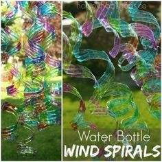Water Bottle Wind Spirals - a gorgeous (and super-easy) way to upcycle some water bottles into a colourful ornament for the backyard or patio. You should see the way these dance and bounce in the wind! They're beautiful! Water Bottle Crafts, Plastic Bottle Crafts, Water Bottles, Plastic Craft, Bottle Art, Plastic Canvas, Glass Bottles, Upcycled Crafts, Recycled Art