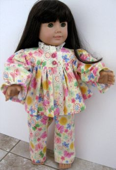 American Girl Flannel Butterfly Print Pajamas by ILuvmCreations on Etsy